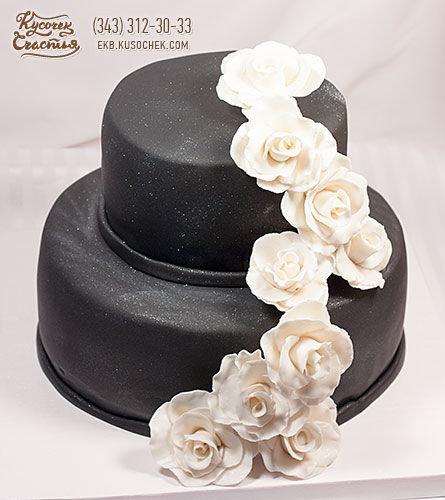 Фото торт с черными розочками
